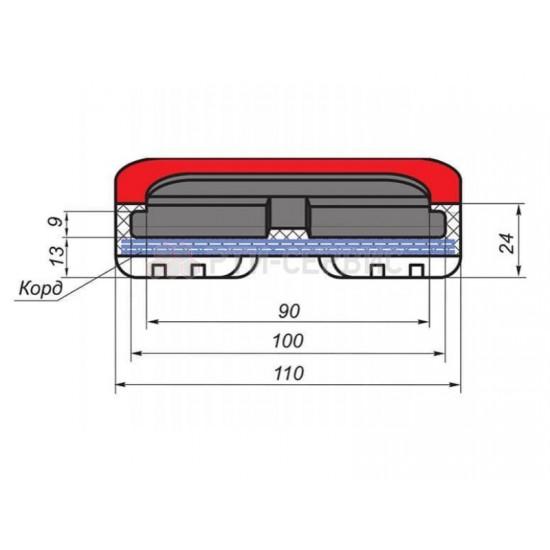1054К Накладка резиновая для траверсы AC Hydraulik. КОРД