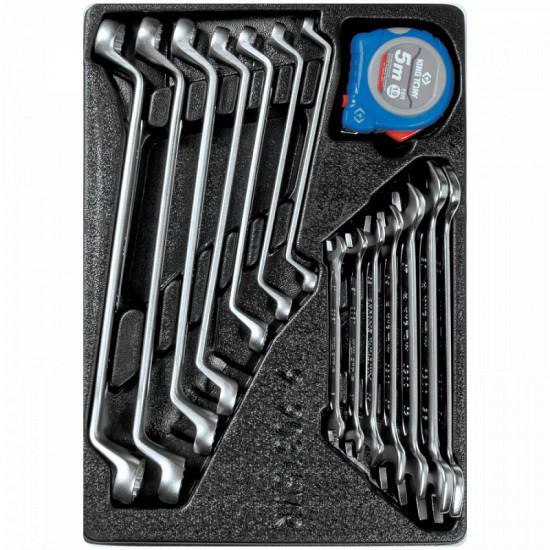 Набор накидных и рожковых ключей рулетка ложемент 15 предметов KING TONY 9-90315MR