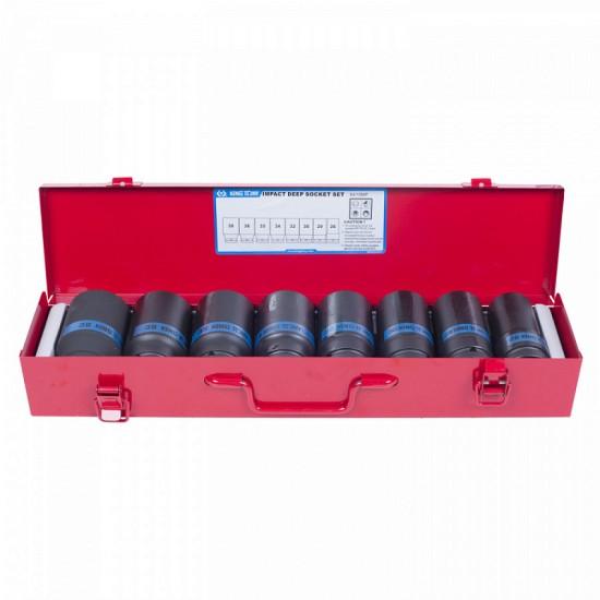 Набор ударных глубоких торцевых головок 3/4 шестигранные 26-38 мм 8 предметов KING TONY 6410MP