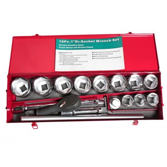 JTC-H816M Набор головок торцевых 1 6-ти гранных 16 предметов в металлическом кейсе