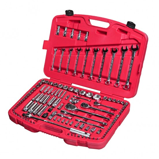 JTC-H123C Набор инструментов 123 предмета слесарно-монтажный 1/4, 3/8, 1/2 метрич/дюйм в кейсе