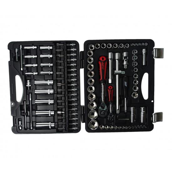 JTC-S110B-B72 Набор головок торцевых и бит 1/4, 1/2 для поврежденных гаек 110 предметов в кейсе