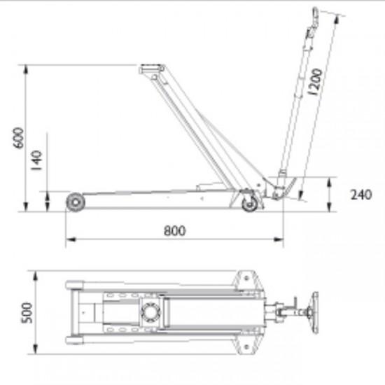 Подкатной гидравлический домкрат г/п 6 т. AC Hydraulic DK60Q