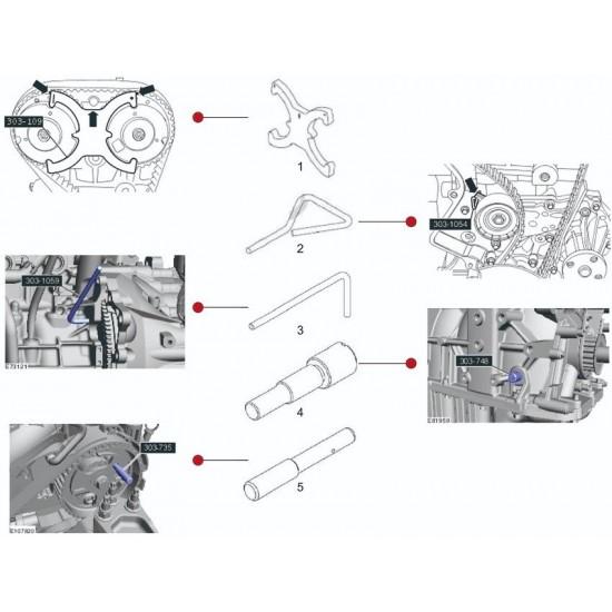 МАСТАК 103-21403C Набор фиксаторов распредвала / коленвала, FORD, кейс, 5 предметов