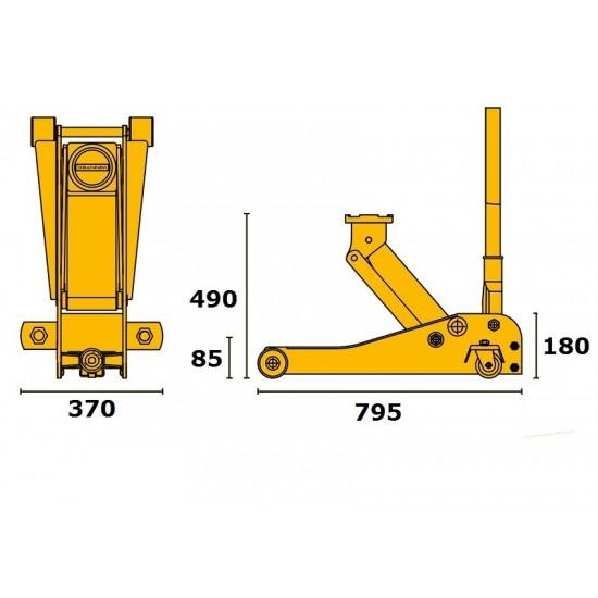 WINNTEC Y420215 Домкрат подкатной со спаренными колёсами 2 т