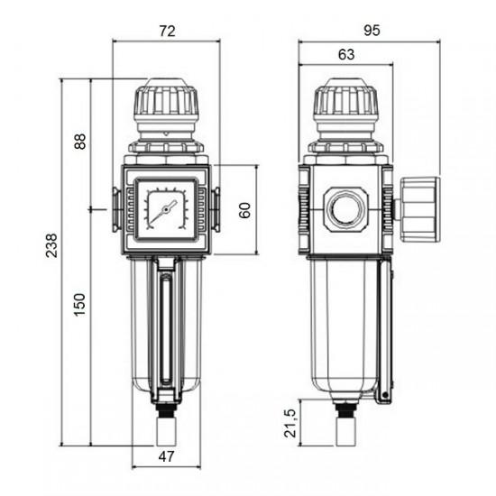 ANI AH113709 (AH116902) Воздушный фильтр с регулятором давления 1/2