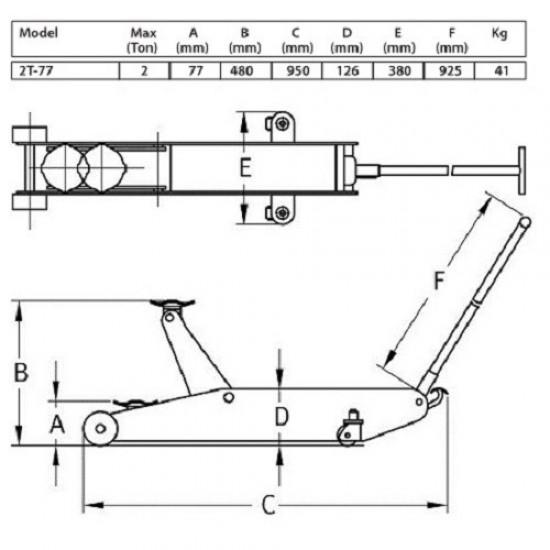 Домкрат подкатной гидравлический г/п 2 т. Compac 2T-77