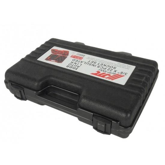 JTC-I008 Набор головок торцевых изолированных до 1000V 3/8 10-24мм 22 предмета в кейсе