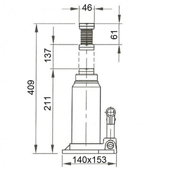 Бутылочный домкрат г/п 20 т Compac CBJ 20