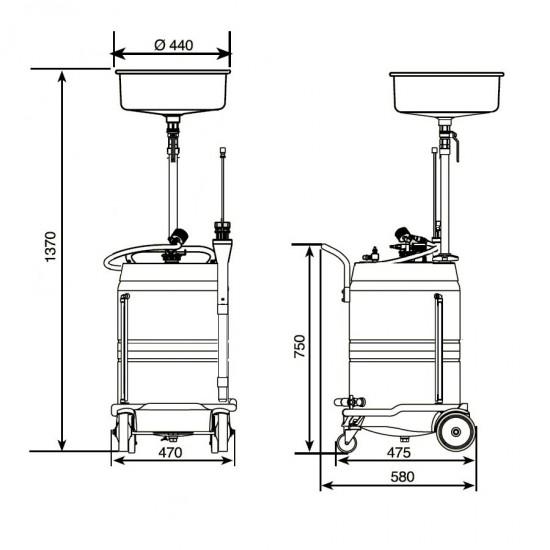 Samoa 373500 Комбинированная установка для слива и откачки масла 70 л
