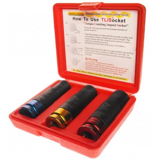 JTC-3522 Набор головок торцевых ударных с фиксированным усилием 17, 19, 21мм 3 предмета