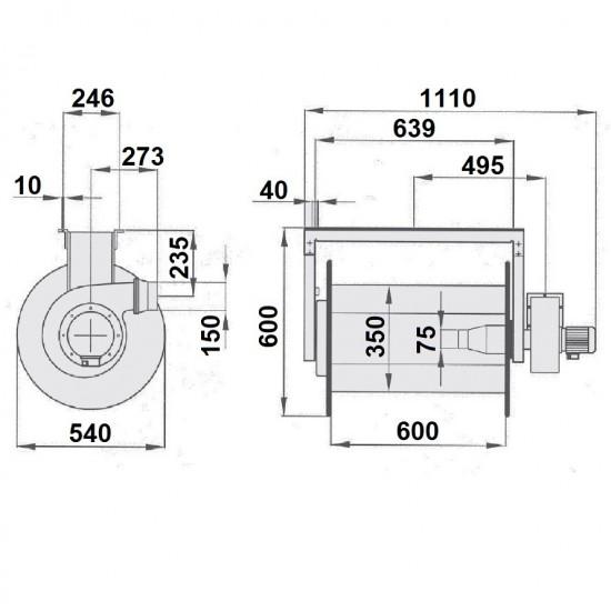 FILCAR ARA-75/7PB-COMP Катушка вытяжная в сборе с шлангом, насадкой и вентилятором