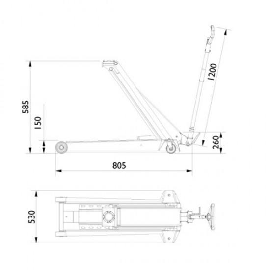 Подкатной гидравлический домкрат г/п 10 т. AC Hydraulic DK100Q