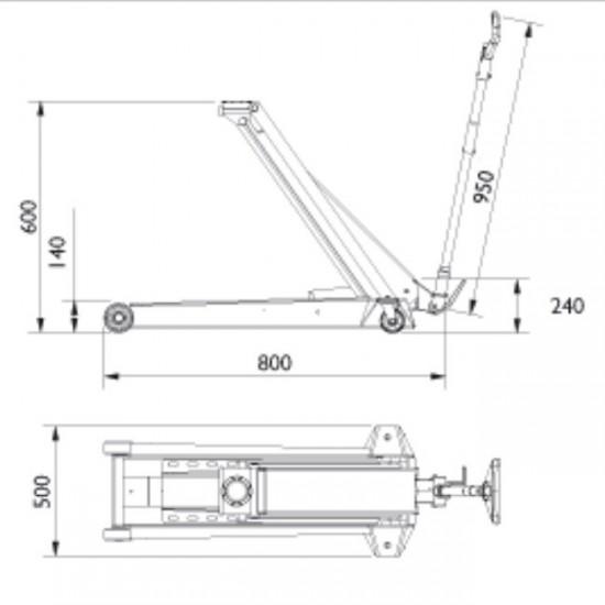 Подкатной гидравлический домкрат г/п 4 т. AC Hydraulic DK40Q