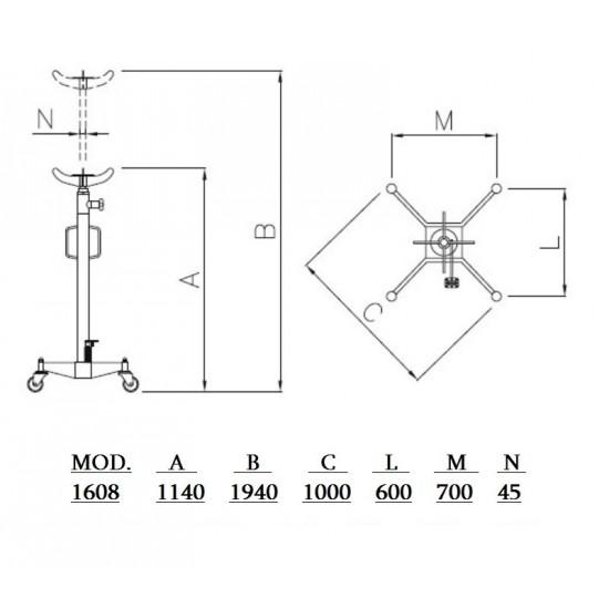 APAC 1608 Стойка трансмиссионная гидравлическая г/п 1500 кг