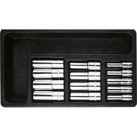 Набор длинных головок 13 предметов в ложементе AmPro T45207