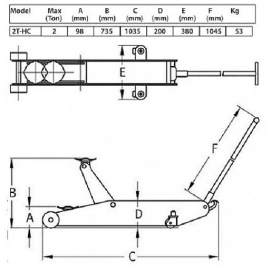Домкрат подкатной гидравлический г/п 2 т. Compac 2T-HC