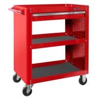 Тележка открытая, 3 полки и ящик, красная МАСТАК 520-01580R