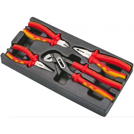 Набор губцевого инструмента для электрика, 4 предмета в ложементе Hans TT-27