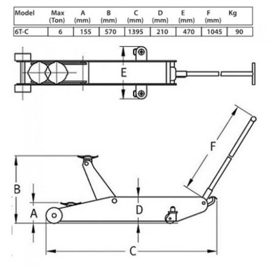 Домкрат подкатной гидравлический г/п 6 т. Compac 6T-C