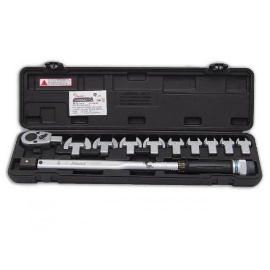 Hans 4673 Динамометрический ключ 40-210 Нм. с набором рожковых насадок 13-30мм