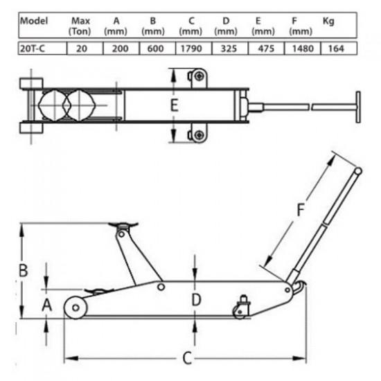 Домкрат подкатной гидравлический г/п 20 т. Compac 20T-C