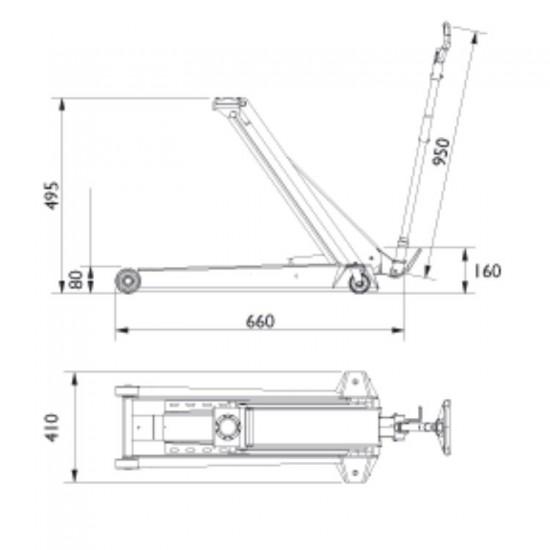 Подкатной гидравлический домкрат г/п 2 т. AC Hydraulic DK20Q