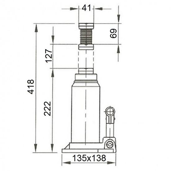Бутылочный домкрат г/п 15 т Compac CBJ 15