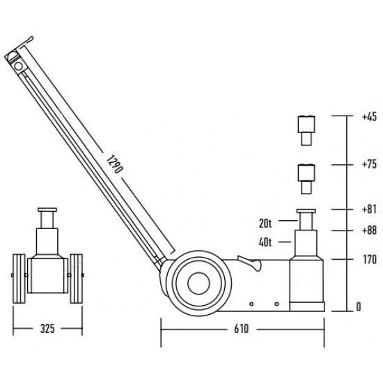 Домкрат пневмогидравлический 20-40 тонн NORDBERG N402
