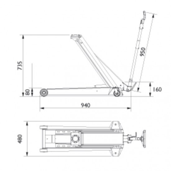 Подкатной гидравлический домкратг/п 1,3 т. AC Hydraulic DK13HLQ