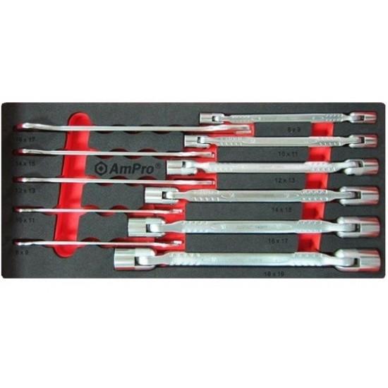 Набор шарнирных и рожковых ключей, 11 предметов в ложементе AmPro T40994